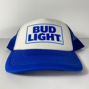 Vintage Bud Light Beer Mesh Trucker Snapback Hat